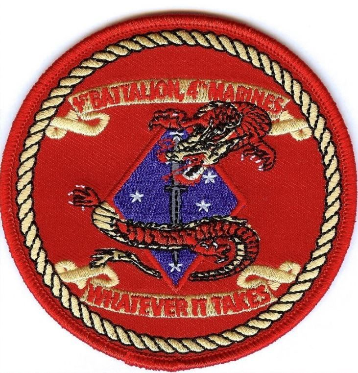USMC 1st Bn/4th Mar 3.5-inch red round PATCH 1/4 OIF ! 1st Battalion/4th Marines