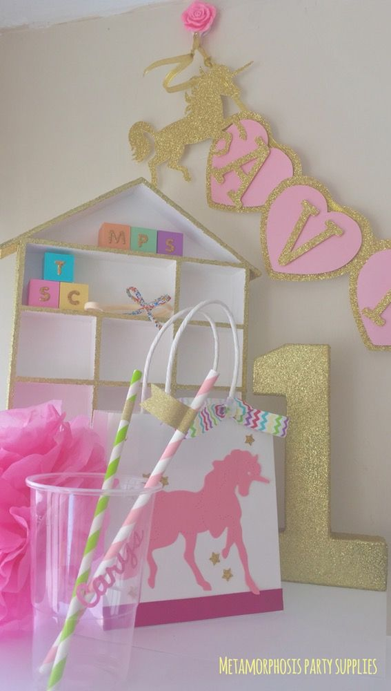Image of Unicorns - personalised 3D banners, bags, cake toppers and confetti