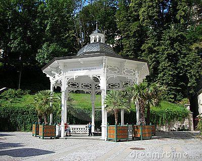 This cosy gazebo places Pramen Svoboda (the Liberty Spring) in Karlovy Vary, Czech Republic.