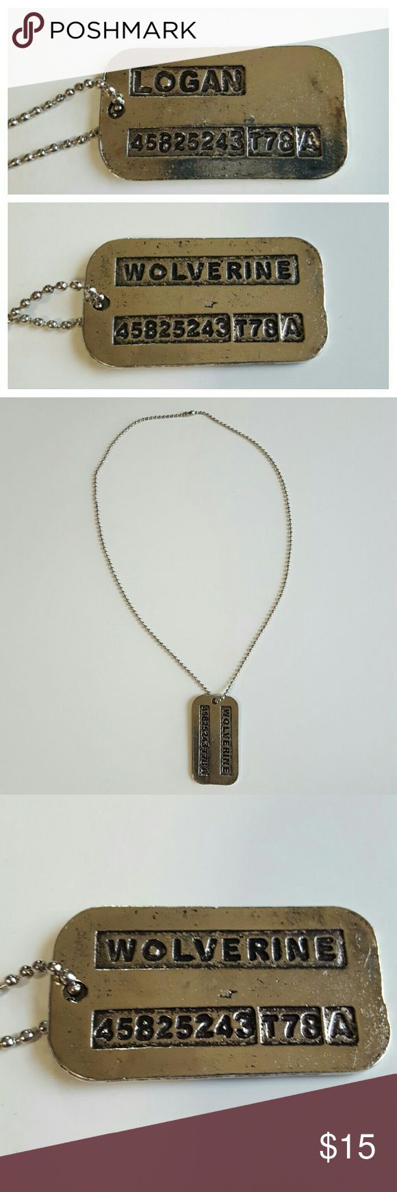 """Wolverine X-Mens Dog Tag Necklace This listing is for a silver necklace of X-Mens movie with this was given to Orignally named James Howlett whos skeleton was bonded with adamantium to make him Logan Wolverine dog tags necklace measures 1 1/2"""" long and 1"""" wide on a chain that is 18"""" long. Brand new and unused. Great with your favorite shirt and jeans. Other great accessories in my closet. Accessories Jewelry"""