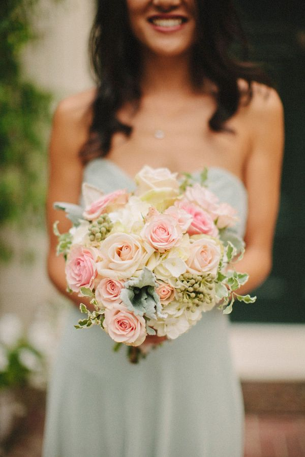 mint green bridesmaid dress with pastel wedding bouquet. http://www.weddingchicks.com/2013/10/28/vintage-wedding/