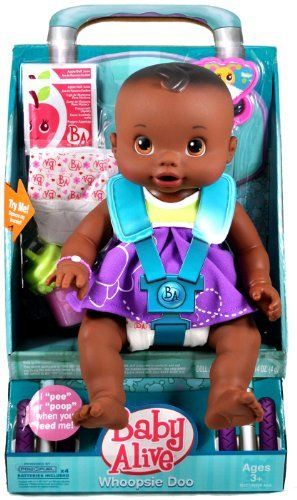 "Hasbro Year 2009 Baby Alive 12 Inch Doll - WHOOPSIE DOO (African American Version) with Baby Doll, 2 Packets of Doll Juice Mix, 2 Diapers, Rattle and T-Shirt by Hasbro. $34.99. Kicking and cooing, ""peeing"" and ""pooping"" - your Whoopsie Doo doll is just like a real baby!"
