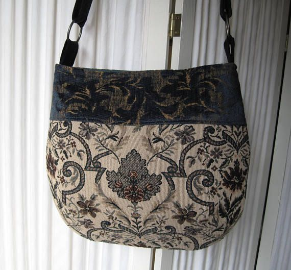 Lovely messenger bag made of vintage upholstery and tapestry