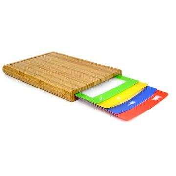 Casabella: Chop 'N Prep Cutting Board Set | A durable bamboo chopping block that conveniently stores four slim prep trays, each color-coded to prevent cross-contamination. Use the green for veggies, the red for meat, the blue for fish, and the yellow for poultry. Without no need to sterilize your mat each time you switch ingredients, you'll slice through prep work in record time.  #kitchen #gadgets