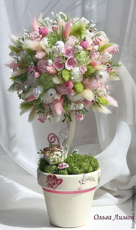"""Топиарий """"На свадьбу"""" - салатовый,топиарий,Дерево счастья,своими руками"""