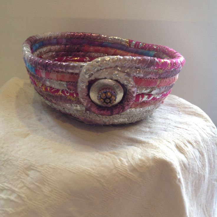 Cord wrapped fabric bowl. Kay Horne