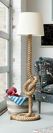 Nautical Rope Floor Lamp | The Land of Nod - The unique design of our Tug o' Lamp will help it stand out in any room. And, despite the name, it's meant to be used for lighting purposes only. Please don't bring it outside and have your family start pulling on each end.