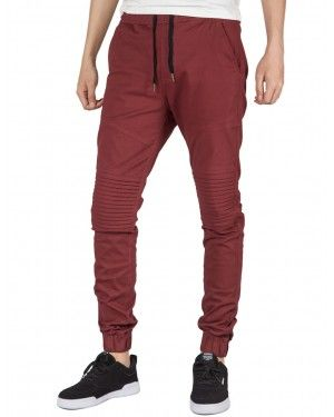 Italy Morn Men Chino Jogger Casual Pants Biker Jogging Twill Khakis Slim Burgundy