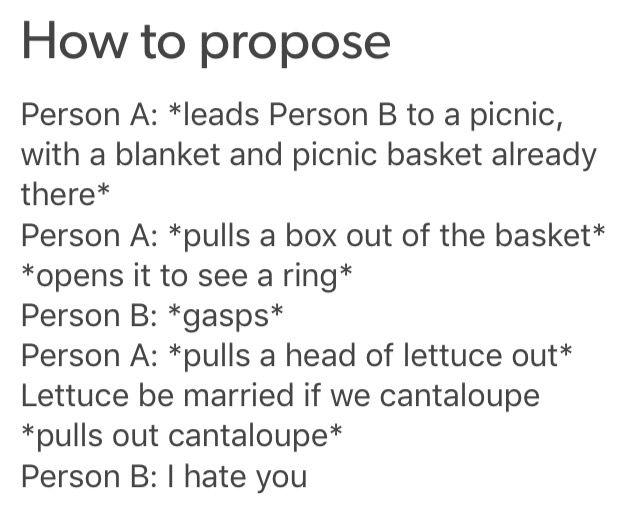 OTP writing prompts / puns / proposal