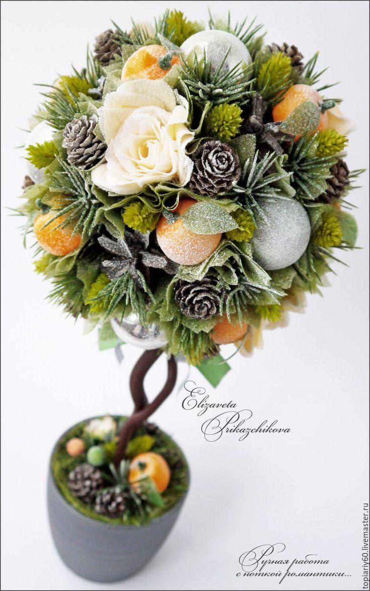 """Купить Топиарий, деревце счастья """"Новогоднее настроение"""" - зеленый, топиарий…"""