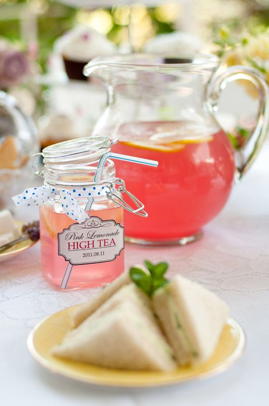 summer high tea and finger sandwiches as appetizers