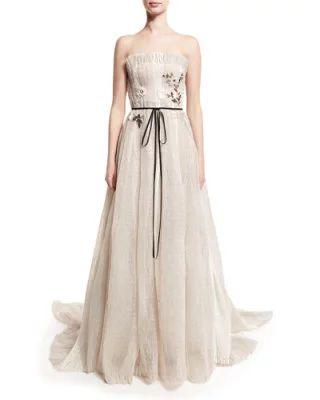 THFC8 Monique Lhuillier Seersucker Organza Strapless Gown, Silk White