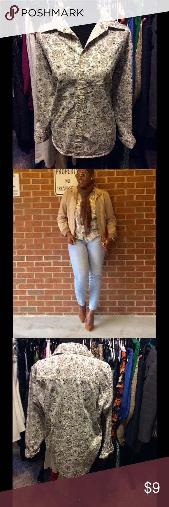 Men's shirt but I rocked with denim & pumps Men's medium but I'm a women's 12 and it was great fit PX Tops Button Down Shirts