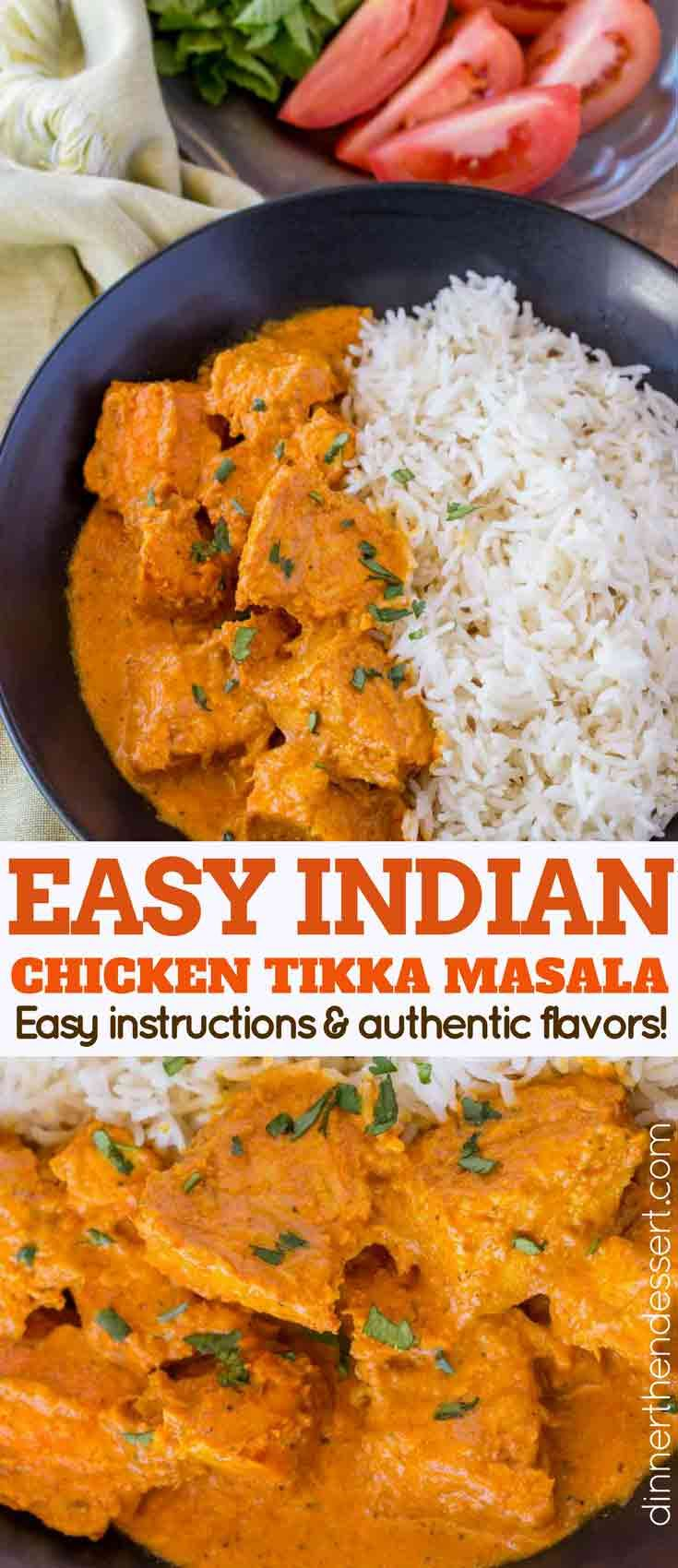 Chicken Tikka Masala is a delicious creamy tomato sauce based Indian recipe made with white meat chicken and plenty of bold spices including garlic, ginger, cumin and coriander.