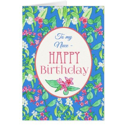 Spring Blossoms Birthday Card for Niece - birthday cards invitations party diy personalize customize celebration
