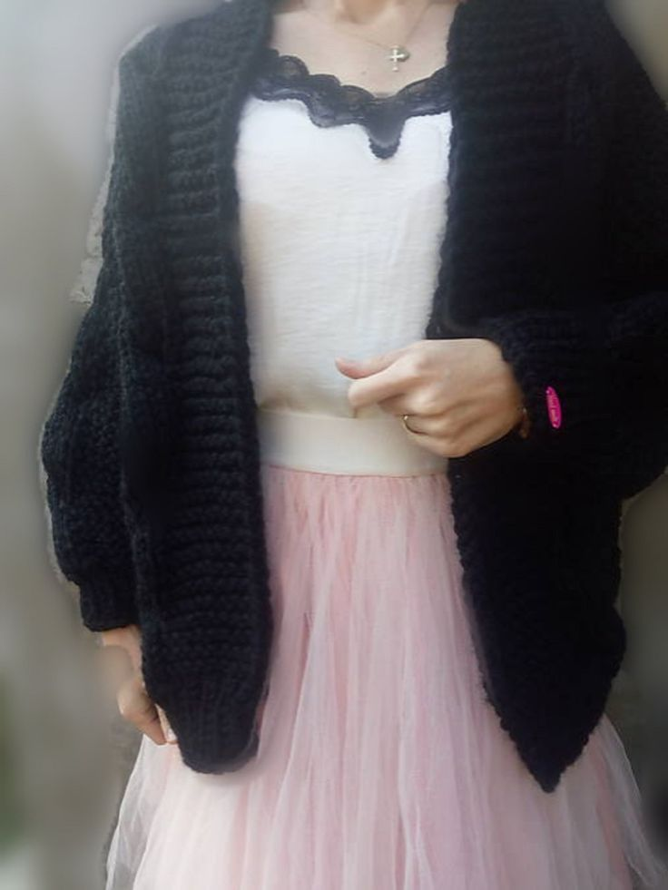 handknit oversized black cardigan, for sell, on etsy.com
