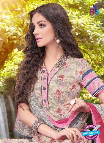 Teazle 2106 Pink & Beige Color Cambric Cotton Designer Suit