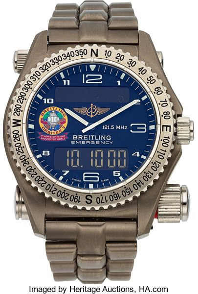 FOR A LIMITED TIME - Ends On 2017-10-24 17:50 (GMT) - Breitling Titanium 1884 Orbiter 3 Emergency Ref. E56321. ... Breitling Titanium 1884 Orbiter 3 Emergency Ref. E56321 Case: 42 mm, solid back, compass bezel, titanium with stainless steel crown and caps Dial: analog, white Arabic numerals and luminous baton hands, second time zone, digital chronograph, countdown alarm, digital running second, day/date display Movement: electronic transmitter module, quartz movement Band: