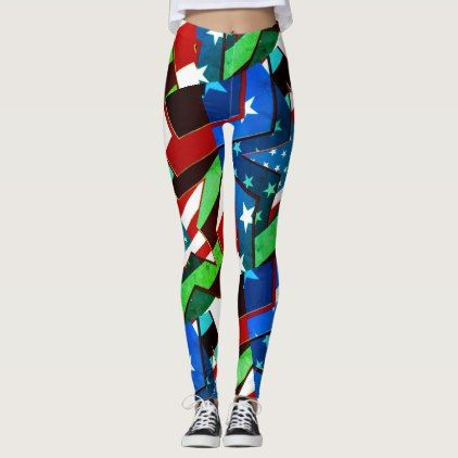 American Flag Stars Greenlea Abstract Art Leggings - independence day 4th of july holiday usa patriot fourth of july