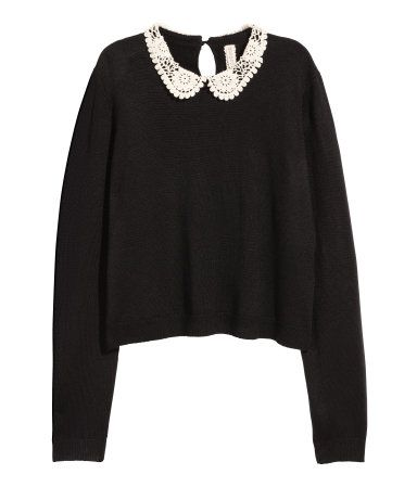 Sweater with Lace Collar | Black | Ladies | H&M US