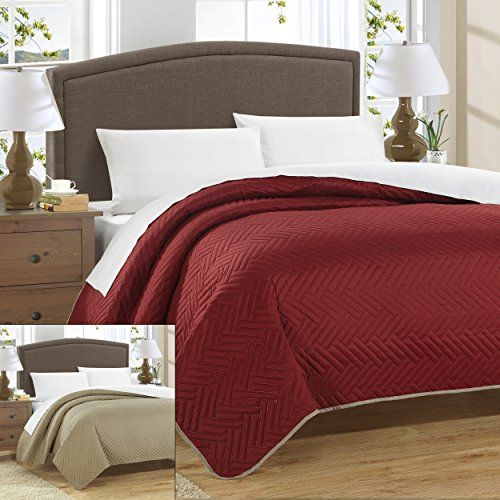 Chic Home Chevron Blocks Enigma Reversible Quilt Queen Red ** Details can be found by clicking on the image.