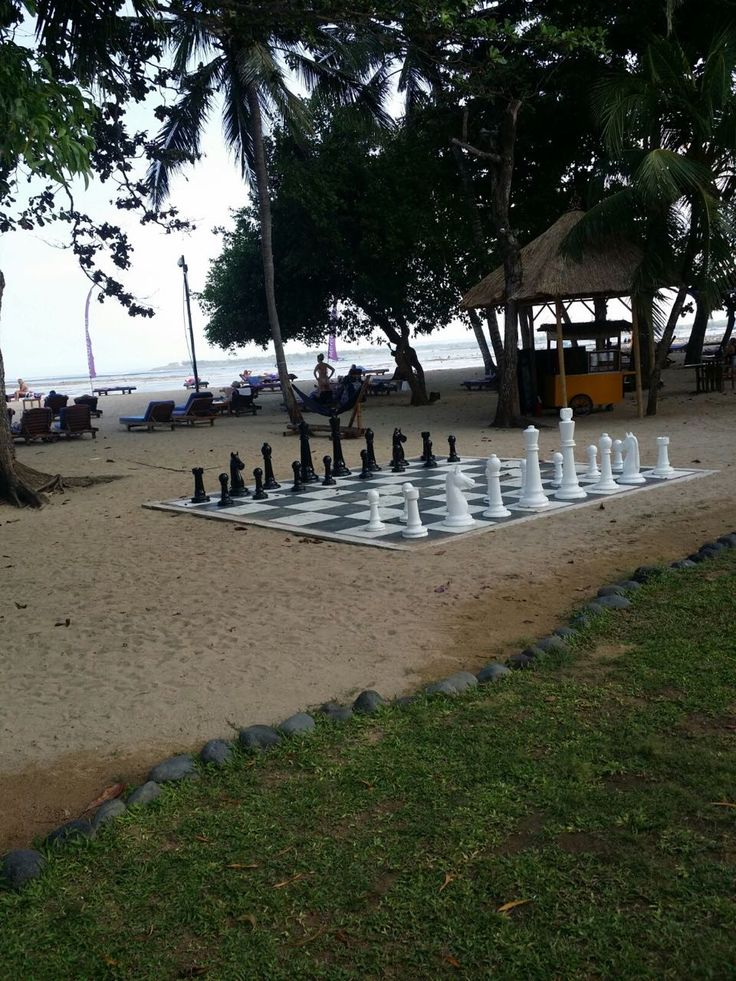 Play chess on the Giant size Chess Board on Semawang Beach