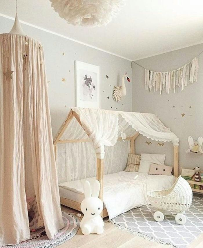 Lace canopy on toddler bed