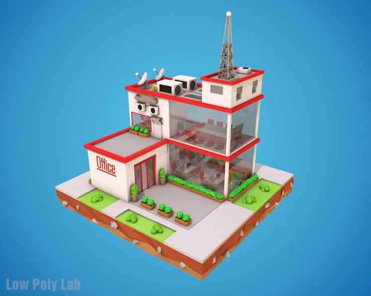 Low Poly Office download 3D model