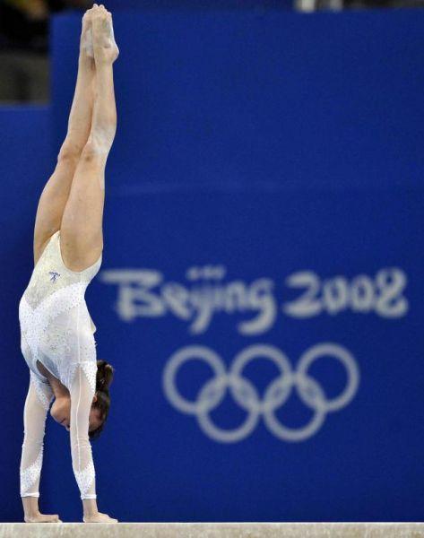 Vanessa Ferrari (Italy) on balance beam at the 2008 Beijing Olympics:
