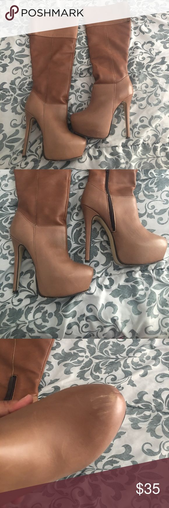 Camel high heel boots Size 7 high heel boots camel color wor them about 2 times has small scuff on the from not really noticeable posted picture of it. Make me an offer andrea Shoes Heeled Boots