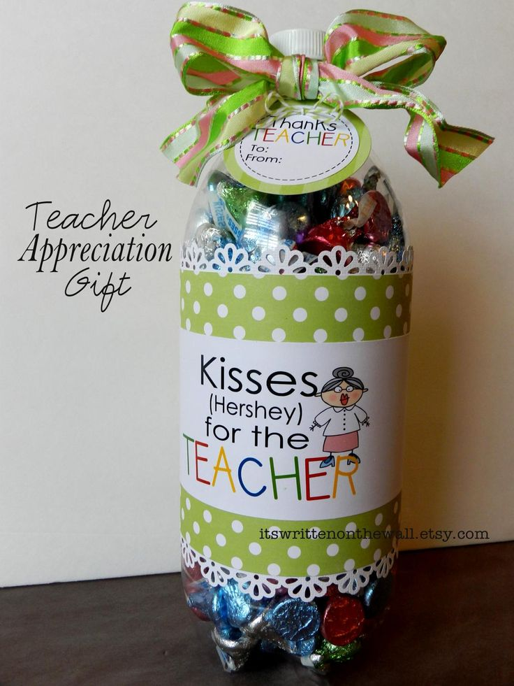 Fill a soda bottle with treats or gifts for the teacher. Tutorial is included-Fun and easy to make
