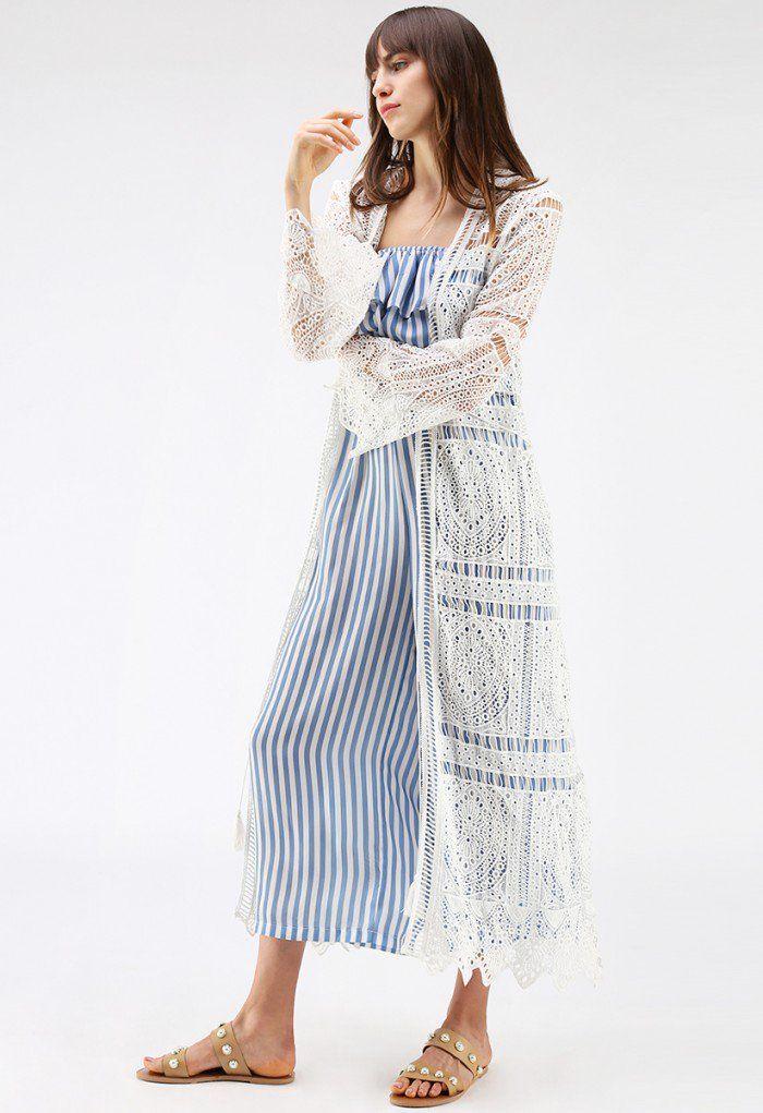 With Your Ingenuity Crochet Longline Kimono in White - DRESS - Retro f807b68bec7e