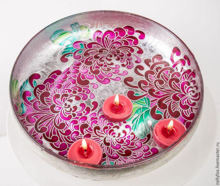 """Купить Миска для плавающих свечей """"Китайская хрезантема"""" - фуксия, миска для свечей, оригинальный подарок"""