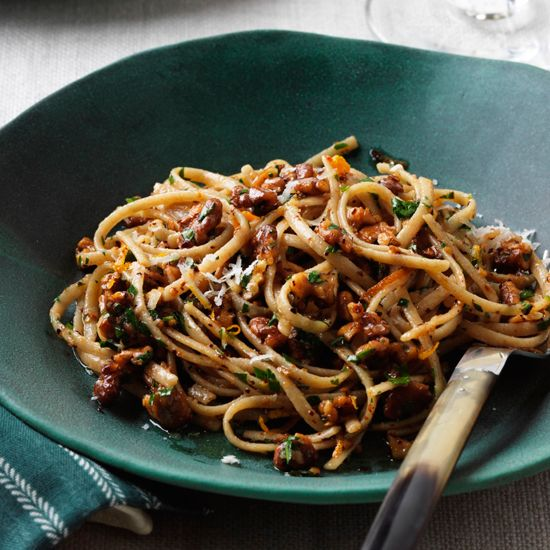 Whole-Wheat Linguine with Walnuts, Orange and Chile | These healthy pasta recipes feature deliciously spicy soba noodles with grilled shrimp and cilantro, and vitamin A–rich macaroni and cheese.