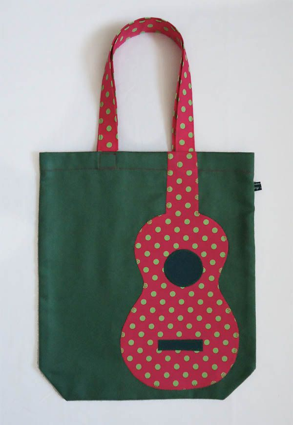 MUSICAL QUILT..............PC........ ..........Green uke tote bag with pink appliqué polka-dot uke. £18.25, via Etsy.