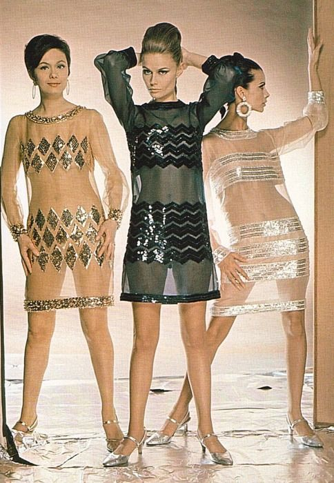 1960s sheer evening fashions....look familiar....enter 2015 ~