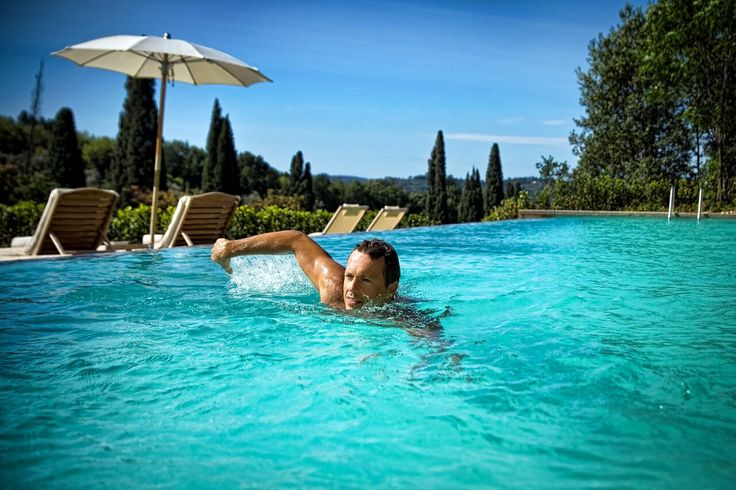The weather forecast for today leaves no doubt: pool time!  Il Salviatino Luxury Hotel Florence Tuscany