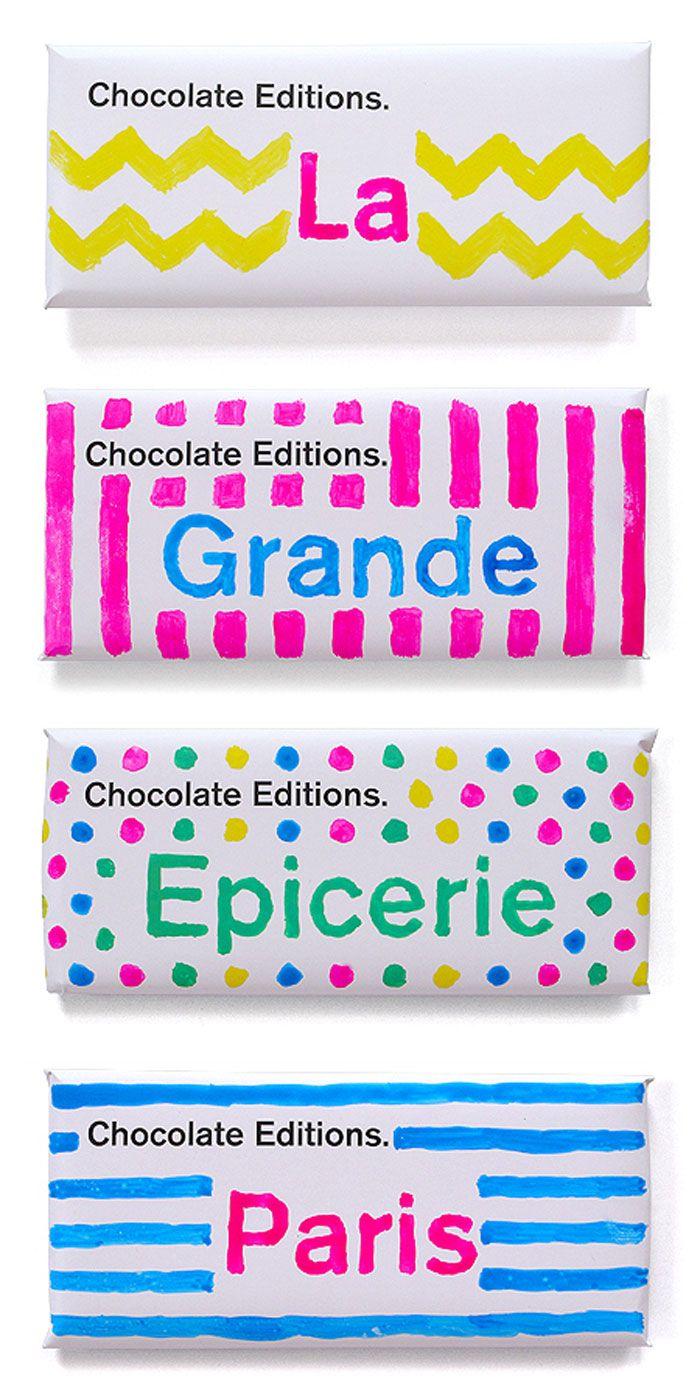 gekkyo: マーカーの手書き感がとてもかわいい、チョコレートのパッケージ。(via Chocolate Editions Paris)