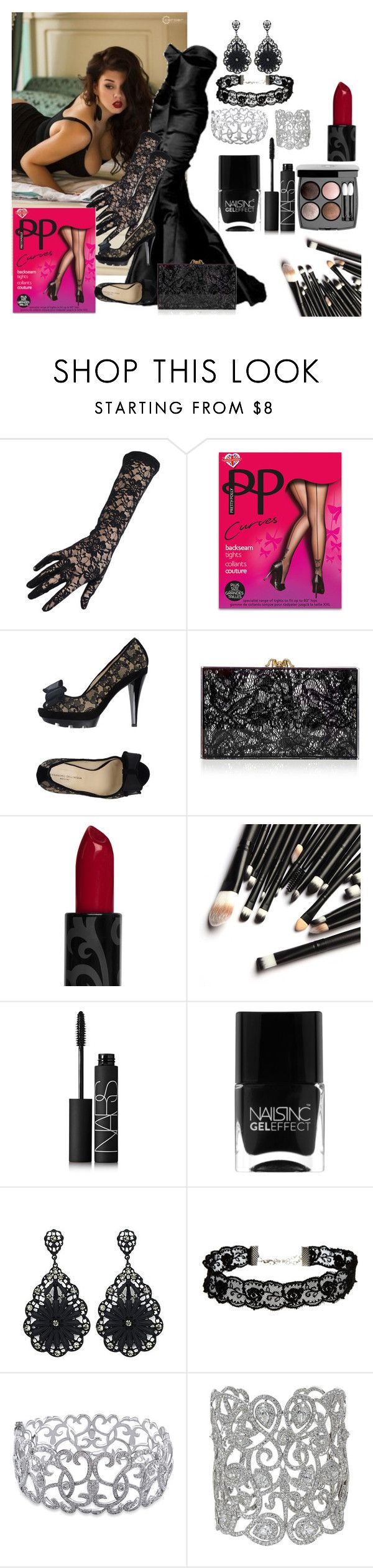 """""""Black Beauty"""" by mermaids533 ❤ liked on Polyvore featuring Pretty Polly, Alessandro Dell'Acqua, Charlotte Olympia, Chanel, NARS Cosmetics, Nails Inc., ASOS and Ice"""