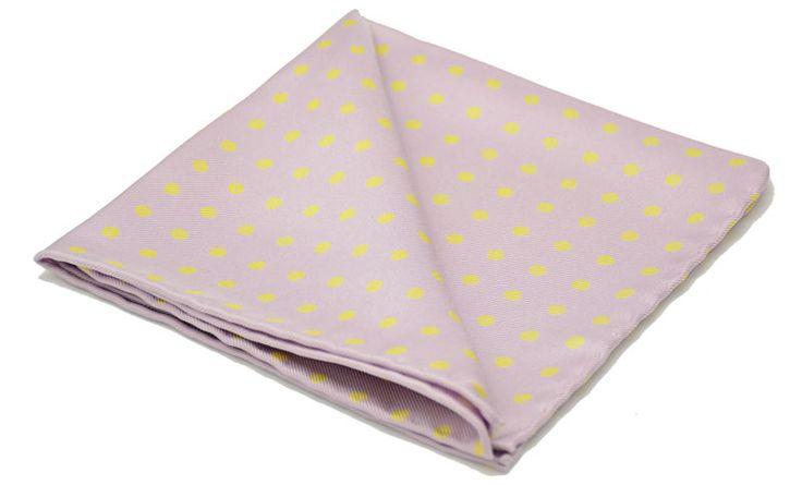 EUAN Printed Silk Pocket Square #pocketsquare #pocket #square #handkerchief #silkhandkerchief #silksquare #silkpocketsquare #pocketsquares #handkerchiefs #madeinengland #wedding #groom #groomswear #weddingideas #idea #grooms #style #weddingstyle #outfit #inspiration #weddingguest #guest #usher #ushers #buybritish #accessories #dapper #gentleman #cravatclub #pink #lilac #yellow #polkadot #dots #spots