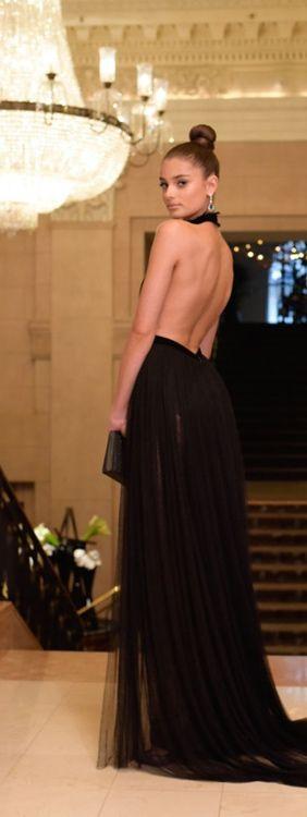 Backless Black Formal Party Dress