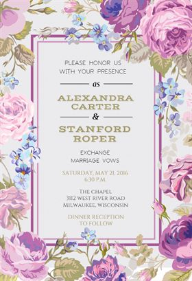 """""""Romantic Cabbage Roses"""" printable invitation template. Customize, add text and photos. Print or ..."""