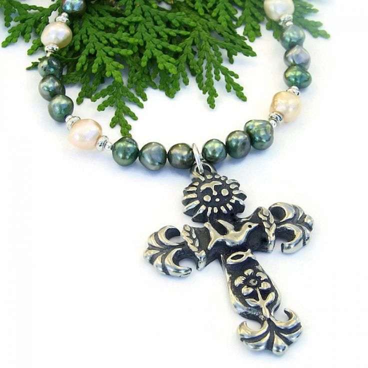 The Love the Earth cross necklace features a symbolic earth cross and pearls - unique handmade jewelry for women.