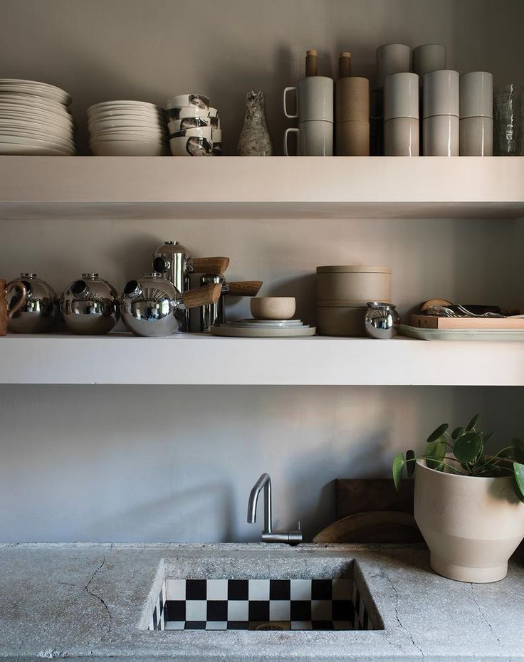 Faye Toogood: In the studio's kitchenette, a collection of crockery. PHOTO: FELIX ODELL FOR WSJ. MAGAZINE