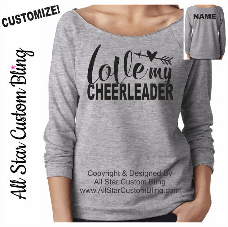 Love My Cheerleader Terry Raw Edge Raglan Shirt 3/4 Sleeve, Custom Cheer Mom Shirt, Mom Cheer Shirt, Personalized Cheer Mom Raglan by AllStarCustomBling on Etsy