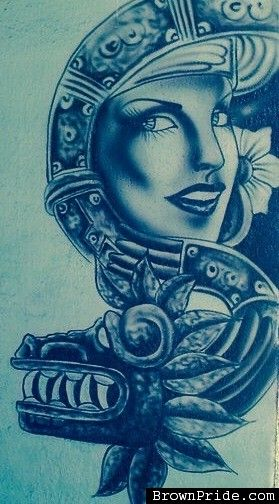 51 best images about chicano art on pinterest angel for Aztec mural tattoos