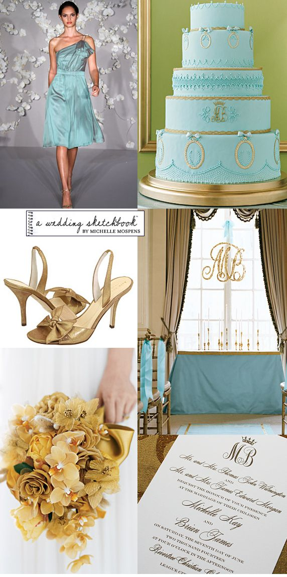 Elegant Light Aqua Blue And Gold Wedding Colors