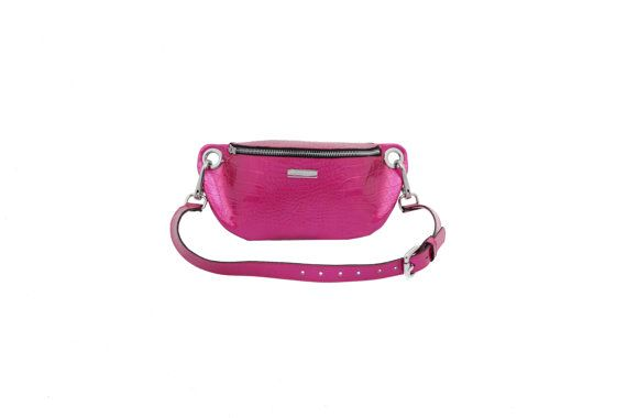 Leather waist bag hip bag fuchsia leather fanny pack by MONAObags