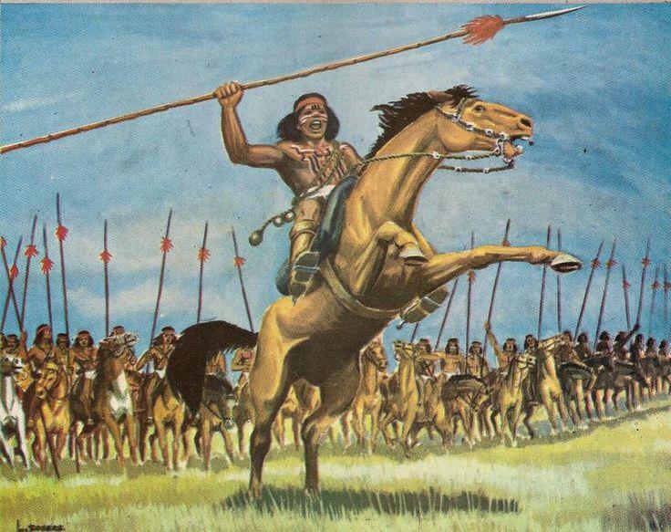 Toqui Quilapan aprestando a sus guerreros antes de la batalla. Grabado de Luis Rogers