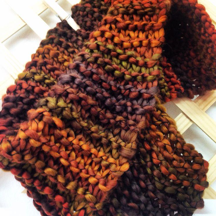 Cuello tejido a punto bobo y a dos agujas con lana Borgo súper suave